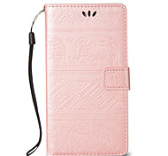 For Samsung Galaxy J710 J7 PU Leather Material Elephant Pattern Relief Solid Color Phone Case