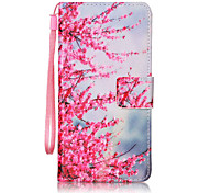 For Samsung Galaxy A5 (2016) A3 (2016) Case Cover Peach Pattern Painting Card Stent PU Leather
