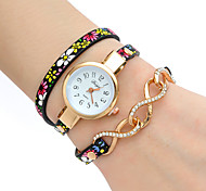 Women's Fashion Watch Wrist watch Bracelet Watch Colorful Quartz PU Band Vintage Flower Bohemian Charm Bangle Cool CasualBlue Grey