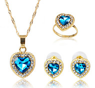 Women's Synthetic Sapphire Party Daily Rings 1 Necklace 1 Pair of Earrings