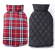 Dog Coat Vest Dog Clothes Keep Warm Reversible Plaid/Check Beige Brown Red Green Costume For Pets