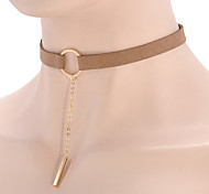 Women Retro Simple Black Flannel Metal Bar Pendant Tassel Chain Necklace Clavicle Chain Vintage Choker  1pc