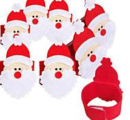 Недорогие -4шт нетканый Салфетка набор Санта-Клауса салфетку кольцо