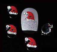 10шт Рождество красоты Red Hat Санта 3d сплав дизайн ногтей DIY Nail Art украшения