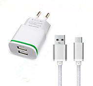 cheap -Dual USB EU Plug Wall Charger Adapter USB 3.1 Type-C Charger Cable for Doogee T3 F7 Pro Travel Charger Type C Charging Cable