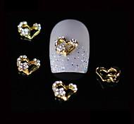 10шт красота золото сердце 3d горный хрусталь сплав дизайн ногтей DIY Nail Art украшения