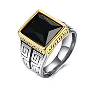 Men's Ring Fashion European Synthetic Gemstones Stainless Steel Titanium Steel Glass Square Geometric Jewelry For Party Daily Casual