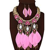 Женский Массивные украшения Pоскошные ювелирные изделия Синтетические драгоценные камни Сплав Перо 1 ожерелье 1 пара сережек Назначение