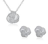 preiswerte -Damen Kubikzirkonia / versilbert Schmuck-Set 1 Halskette / 1 Paar Ohrringe - Silber Für Party / Alltag