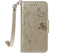 For iPhone 7Plus 7 6s Plus 6Plus 6S 6 SE 5s 5 PU Leather Material Butterfly Flower Solid Color Phone Case