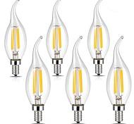 cheap -6pcs 4W 400lm E14 LED Filament Bulbs CA35 4 LED Beads COB Warm White Cold White 220-240V
