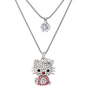 cheap -Women's Cat Rhinestone Imitation Diamond Pendant Necklace - Cute Style Fashion Double-layer Cat Animal Silver Necklace For Party Daily
