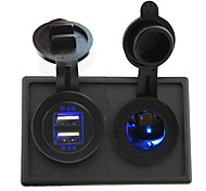 12V/24V led Power socket and 4.2A dual USB port with housing holder panel for car boat truck RV