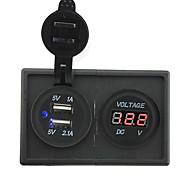 Недорогие -12v / 24v 3.1a двойной USB разъем и водить вольтметр с держателем корпус панель для автомобиля лодки грузовик с.в.