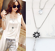 Women's Pendant Necklaces Rhinestone Simulated Diamond Alloy Jewelry Double-layer Fashion Silver Jewelry Party Daily 1pc