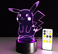 cheap -1 pc 3D Nightlight Remote Control / RC Night Vision Small Size Color-Changing Artistic LED Modern/Contemporary