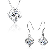 Women's Party Daily Cubic Zirconia Copper Silver Plated 1 Necklace 1 Pair of Earrings