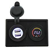 24v llevó adaptador USB voltímetro pantalla y 4.2a digital con panel de soporte de alojamiento para rv del carro del barco del coche