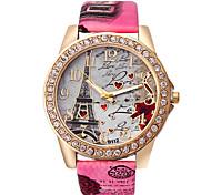 Women's Fashion Watch Quartz Rhinestone Imitation Diamond PU Band Heart shape Eiffel Tower White Blue Red Brown Grey Rose