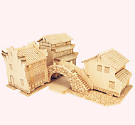 Jigsaw Puzzles Wooden Puzzles Building Blocks DIY Toys  JiangNan Style House C 1 Wood Ivory Model & Building Toy