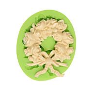 Недорогие -Красивый венок силиконовая помадка торт формы шоколадная форма кухня выпечка украшения инструмент цвет случайный