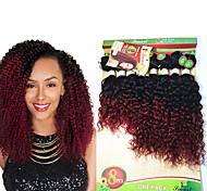 Недорогие -Натуральные волосы Бразильские волосы Омбре Кудрявый Кудрявое плетение Наращивание волос 1 шт. Черный / Клубника Blonde Черный / Medium