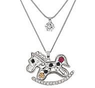 Женский Ожерелья с подвесками Стразы Имитация Алмазный Сплав В форме животных Двойной слой Мода Серебряный БижутерияДля вечеринок