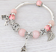 Women's Charm Bracelet Crystal Resin Alloy Fashion Simple Style Leaf Rose Pink Green Blue Pink Jewelry 1pc