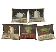 Set of 5 Retro furniture pattern  Linen Pillow Case Bedroom Euro Pillow Covers 18x18 inches  Cushion cover