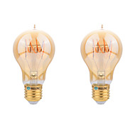 cheap -2pcs 4W 400-450lm E26 / E27 LED Filament Bulbs A60(A19) LED Beads COB Decorative Warm White 220-240V