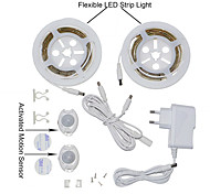 YWXLight® 2835SMD 3W 36LED Warm White Cool White EU Plug Double Bed Motion Activated Bed Light 2x1.2M Flexible Strip Timer Sensor For (DC 12V)