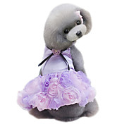 cheap -Dog Dress Dog Clothes Flower Gray Purple Pink Chiffon Costume For Pets Women's Cute Fashion Wedding