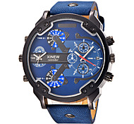 cheap -Men's Quartz Wrist Watch / Military Watch / Sport Watch Calendar / date / day / Large Dial / Punk / Cool / Dual Time Zones Leather Band