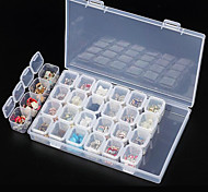 Clear Plastic 28 Slots Empty Storage Box Nail Art Rhinestone Tools Jewelry Beads Display Storage Box Case Organizer Holder