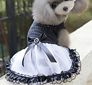 cheap -Cat Dog Dress Dog Clothes Princess White/Black Cotton Costume For Pets Women's Cute
