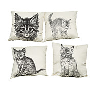 Set of 4 Hand painted cat pattern Linen Pillowcase Sofa Home Decor Cushion Cover