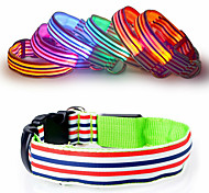 Cat Dog Collar Reflective LED Lights Adjustable/Retractable Strobe/Flashing Safety Stripe Rainbow Red White Green Blue Pink Yellow Orange
