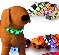cheap -Dog Collar LED Lights Adjustable / Retractable Reflective Safety Strobe/Flashing Plaid/Check Geometic Cartoon Plastic Nylon Yellow Red