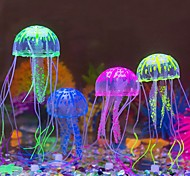 Aquarium Decoration Glowing Jellyfish Silicone Random Colors  for Fish Tank