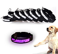 Cat Dog Collar Reflective LED Lights Adjustable/Retractable Strobe/Flashing Safety Solid Cartoon Polka DotsRed White Green Blue Pink