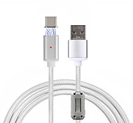 cheap -USB 2.0 Type-C USB Cable Adapter Braided Magnetic Cable For Samsung Huawei LG Xiaomi HTC 100 cm Aluminum Nylon