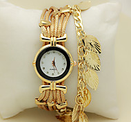 Women's Bracelet Watch Wrist watch Quartz Rhinestone Imitation Diamond Leather Band Leaves Red Green Gold