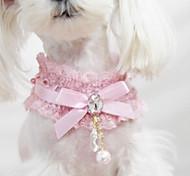 Dog Collar Fashion Bowknot Lace Fabric Black Pink