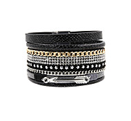 Leather Bracelet Bohemian Handmade Fashion Leather Rhinestone Alloy Star Jewelry For Wedding Party Special Occasion Anniversary Birthday