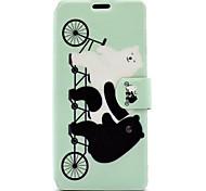 For Sony Xperia XA E5 Case Cover Cute Bear Pattern HD Painted Voltage TPU Process PU Skin Phone Case Xperia C6 Ultra