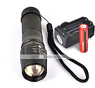 UltraFire W-878 LED Flashlights / Torch LED 2200 lm 5 Mode Cree XM-L T6 with Batteries and Charger Nonslip grip Camping/Hiking/Caving