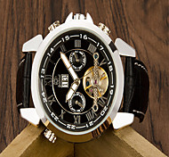Men's Fashion Watch Quartz Leather Band Casual Black  Automatic mechanical watch