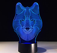 cheap -Animal Wolf Decor 3D LED Nightlights Colorful Wolf Design Table Lamp teen wolf Illusion Lights Bedroom Modern Decor