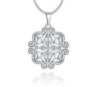 Feminino Colares com Pendentes Cristal Formato Circular Prata de Lei Cristal imitação de diamanteCircular Original Com Logotipo Pingente