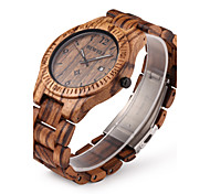 Men's Wrist watch Unique Creative Watch Wood Watch Quartz Japanese Quartz Calendar / date / day Wood Band Luxury Brown